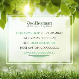 Подарочный сертификат на сумму 100 евро